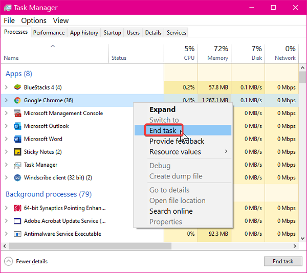 end task manager process