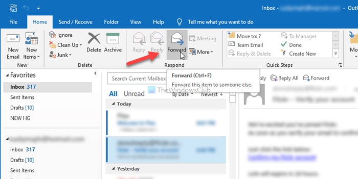 How to forward multiple emails in Outlook