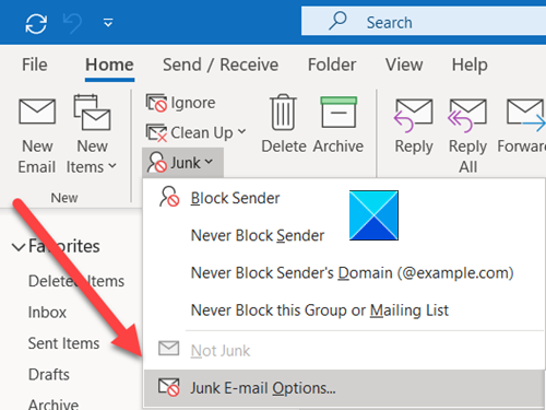 Junk Email Options
