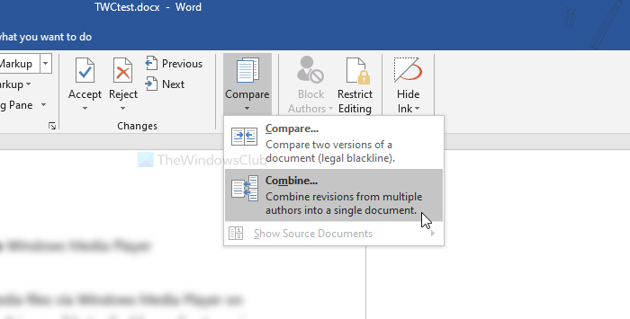 How to merge comments from multiple documents in Word