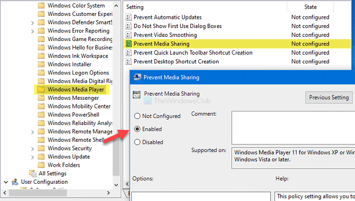 How to prevent users from sharing media via Windows Media Player