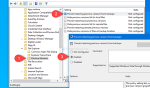 How to prevent restoring previous versions of files from backups