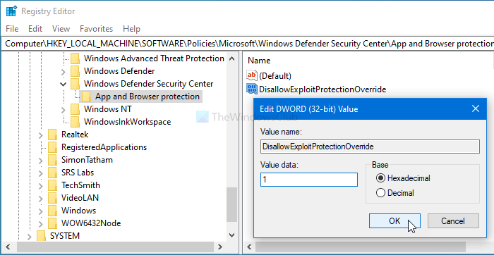 How to prevent users from modifying Exploit protection settings
