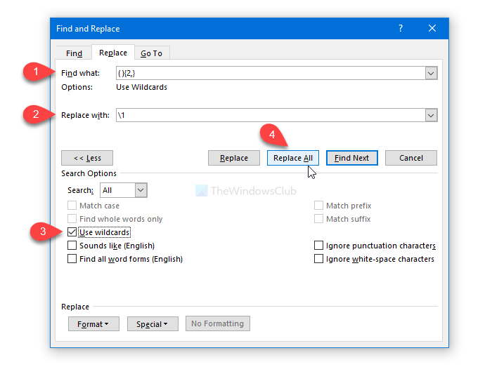 How to remove extra spaces in Word between words