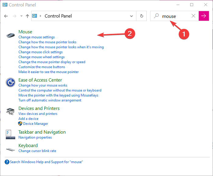 search for mouse in control panel