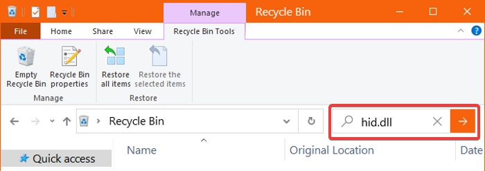 search recycle bin hid dll