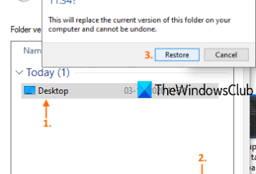 restore previous versions of files and folders windows 10