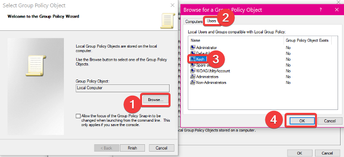 How to apply Local Group Policy to specific users in Windows 10