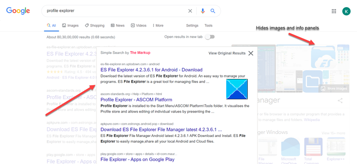 Clean up Google Search Results Page