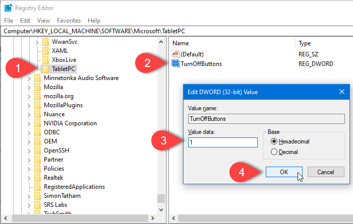 How to enable or disable hardware buttons in Windows 10 Tablet PC