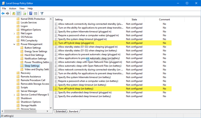 How to turn off Hybrid Sleep when PC is on battery or plugged in