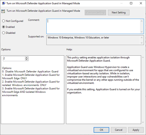 Enable or disable Microsoft Defender Application Guard for Office