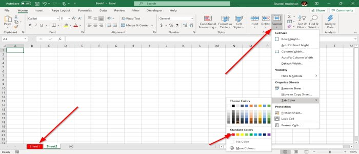 Change the color of a single Excel worksheet Tab