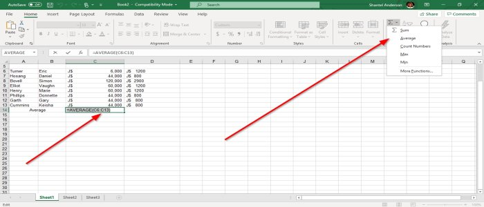 How to use MIN, Max, and AVERAGE Functions of Excel