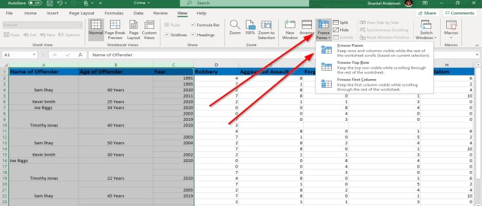 Freeze and Split Panes in Excel