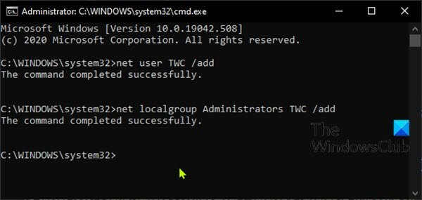 Create Local Administrator account from Command Prompt
