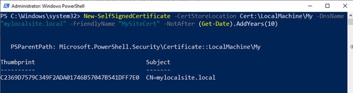 Create Local Certificate in Windows 10