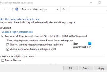 Enable or Disable High Contrast Message and Sound