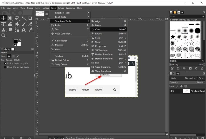 Crop, rotate and change image size in GIMP