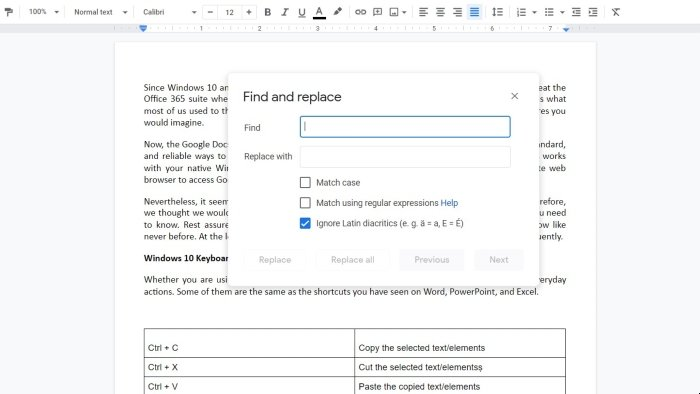 Windows 10 Keyboard Shortcuts for Common Actions in Google Docs