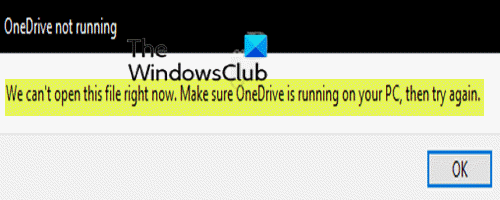 Make sure OneDrive is running on your PC, then try again