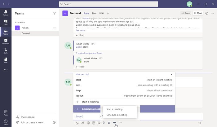 Start Zoom Meeting Microsoft Teams
