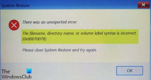 The filename, directory name, or volume label syntax is incorrect (0x8007007B)