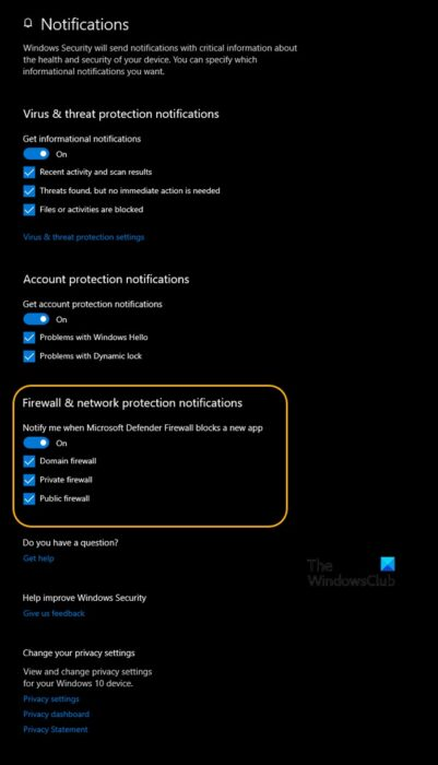 Turn On or Off Windows Defender Firewall Notifications in Windows Security Center