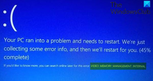 VIDEO_MEMORY_MANAGEMENT_INTERNAL Blue Screen error
