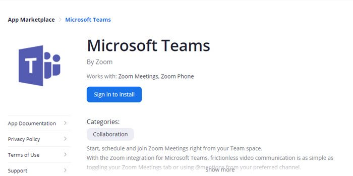 Zoom Microsoft Teams App
