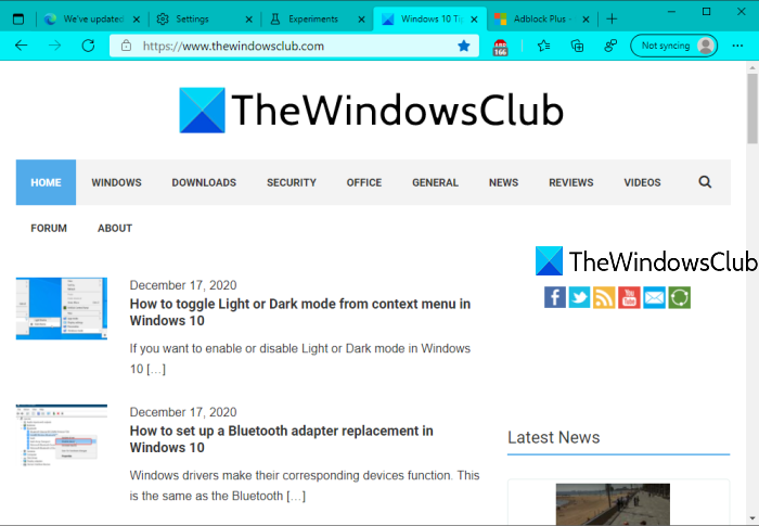 accent color applied to microsoft edge