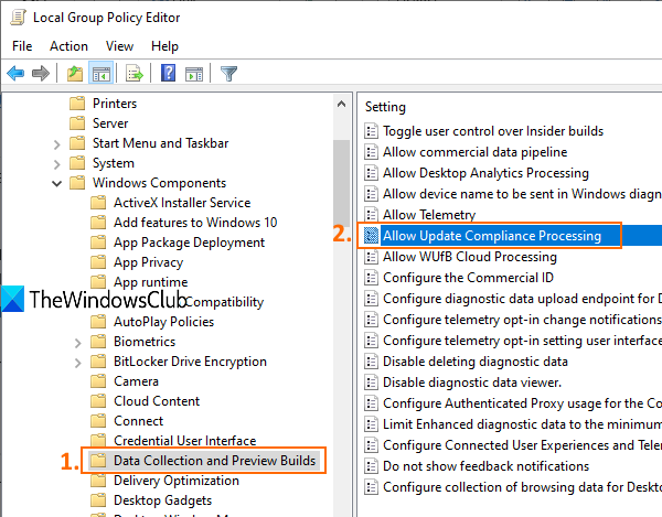 Allow Update Compliance processing in Windows 10