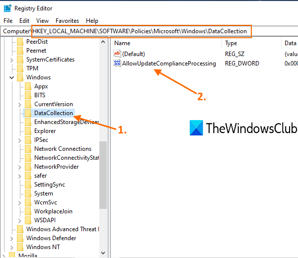 access datacollection key and create allowupdatecomplianceprocessing dword value