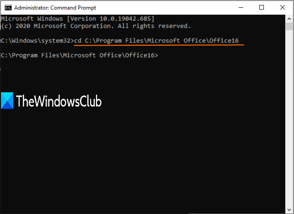access microsoft office path in command prompt