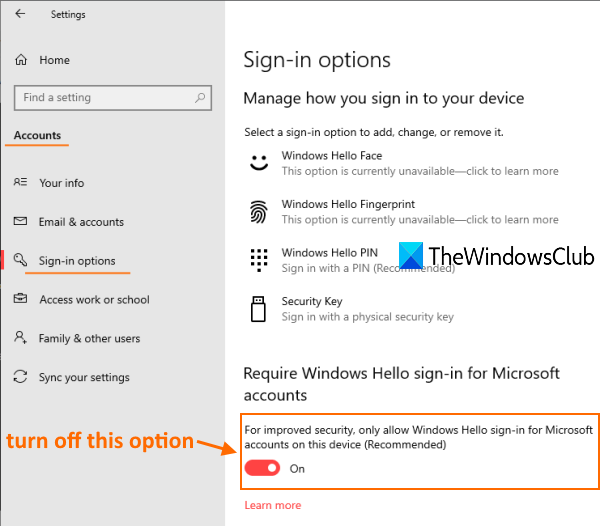 access sign in options page and turn off only allow windows hello sign in option