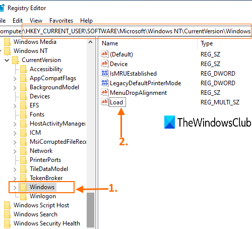 access windows key and open Load multi-string value