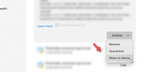 How to manually allow blocked file or app in Windows Security