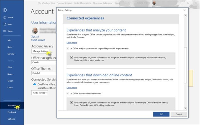 How to change Account Privacy settings in Microsoft Office