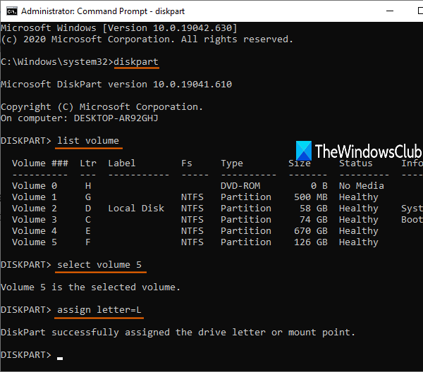 change drive letter using command prompt
