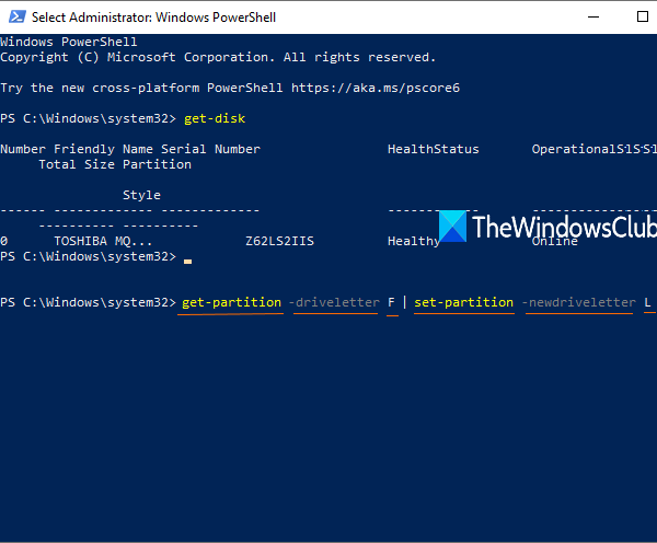 change drive letter using elevated powershell