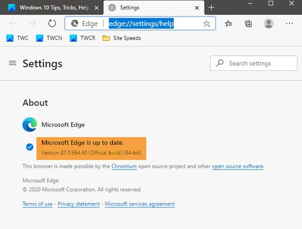 check your Microsoft Edge browser version
