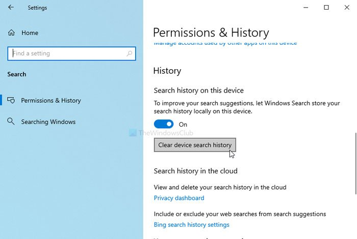 How to clear device search history in Windows 10