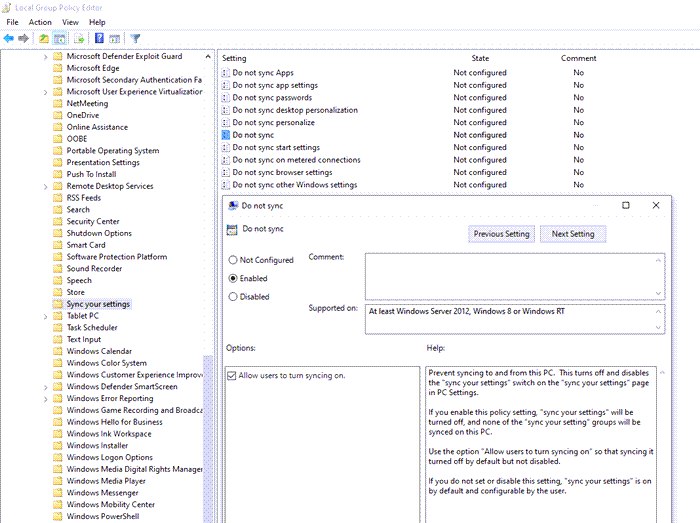 group policy enable sync windows 10 settings