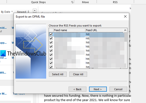 import or export a collection of RSS Feed subscriptions in Outlook