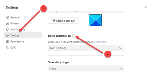 enable Noise Cancellation in Microsoft Teams