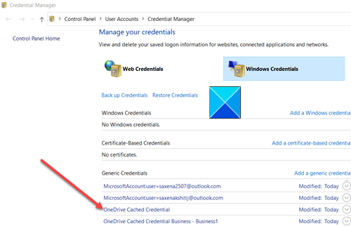 OneDrive Cached Credentials