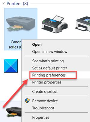 Printing Preferences