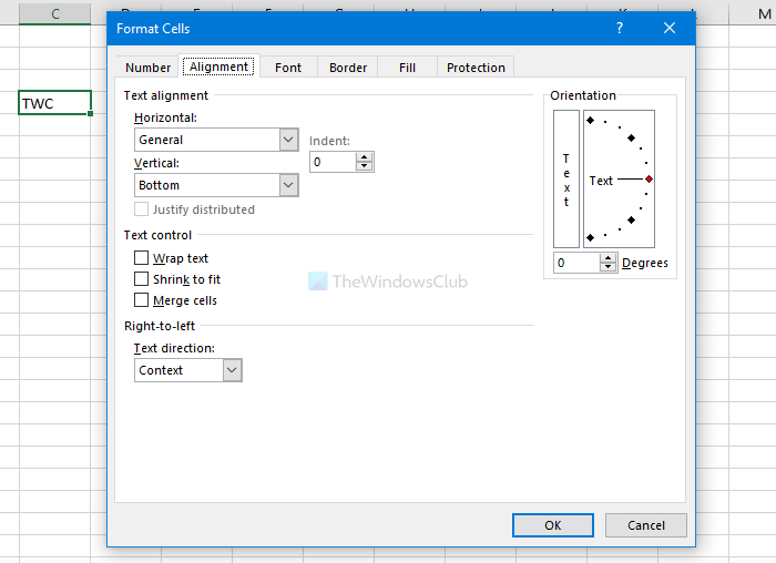 How to rotate text in Excel spreadsheet