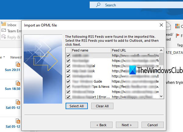 select RSS Feeds to import