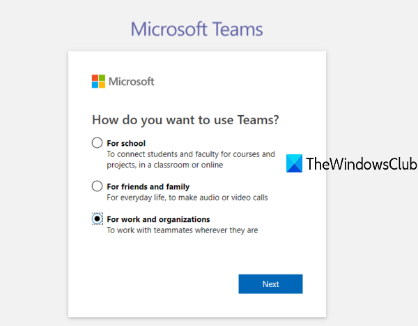 select any of the given options to use Teams
